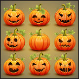 Big set of pumpkins for Halloween. Vector. Illustration vector illustration
