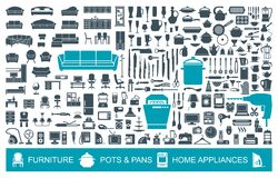 Big set of quality icons household items. Furniture, kitchenware, appliances. Home symbols Royalty Free Stock Photography