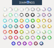 Big set 60 realistic colorful crystals, light reflection and shadow. Big set of 60 realistic crystals with light reflection and shadow in different colors Stock Photography