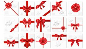 Big Set Of Realistic Gift Card With Red Bow And Ribbon Template royalty free illustration