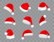 Big set of realistic Santa Hats isolated on transparent background. Vector santa claus hat colllection vector illustration