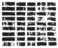 Big set of rectangular text box. Grunge paint stripe. Vector brush stroke. Black grunge spots with place for your text. Spots created with paint roller and stock illustration
