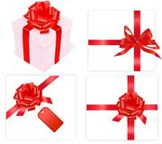 Big set of red bows and box. Vector. Royalty Free Stock Photos