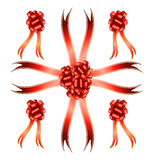 Big set of red gift bows Stock Image
