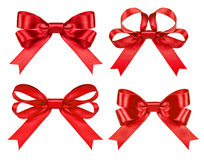 Big set of red gift bows with ribbons Stock Images