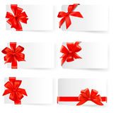 Big set of red gift bows with ribbons. Vector. Stock Image
