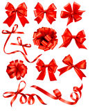 Big set of red gift bows with ribbons. Stock Photography