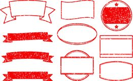Big set of red grunge templates for round rubber stamps and ribb. On banners stock illustration