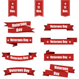 Big set of red ribbon with Veterans Day of USA. Vector illustration vector illustration