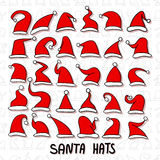 Big set of Red Santa hats. Stock Images