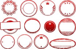 Big set of red templates for rubber stamps Royalty Free Stock Photos