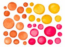 Big set of red yellow brown watercolor label Stock Photos