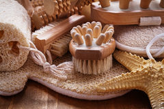 Big set of relaxation items on pine vintage wooden Royalty Free Stock Image