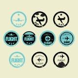 Big set of retro aircraft stickers. grunge style. Retro aircraft stickers big set Stock Photos