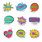 Retro comic speech bubbles with animal sounds. Big set of Retro comic speech bubbles with animal sounds TWEET, WOOF, SHHH, MEOW with halftone shadow in pop art Royalty Free Stock Photography