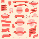 Big set retro design ribbons and badge Vector design elements.  Royalty Free Stock Photos