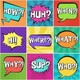 Big set of retro speech bubbles with questions stock illustration