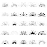 Big set of Retro Sun burst shapes. 25 Half Vintage logo, labels,. Badges. Vector design element isolated. Minimal black firework burst Stock Photo