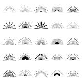 Big set of Retro Sun burst shapes. 25 Half Vintage logo, labels,. Badges. Vector design element isolated. Minimal black firework burst Stock Photography