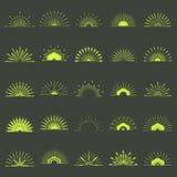Big set of Retro Sun burst shapes. 25 Half Vintage logo, labels,. Badges. Vector design element isolated. Minimal black firework burst Royalty Free Stock Photo