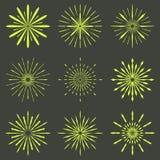 Big set of Retro Sun burst shapes. Vintage logo, labels, badges. Vector design element isolated. Minimal gold firework burst Royalty Free Stock Photo