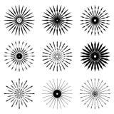 Big set of Retro Sun burst shapes. Vintage logo, labels, badges. Vector design element isolated. Minimal black firework burst Stock Images