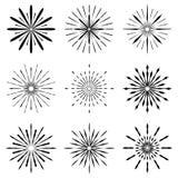 Big set of Retro Sun burst shapes. Vintage logo, labels, badges. Vector design element isolated. Minimal black firework burst Stock Photo
