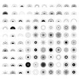 Big set of Retro Sun burst shapes. 100 Vintage logo, labels, bad. Ges. Vector design element isolated. Minimal black firework burst Stock Image