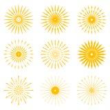 Big set of Retro Sun burst shapes. Vintage logo, labels, badges. Vector design element isolated. Minimal gold firework burst Royalty Free Stock Photography
