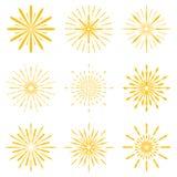 Big set of Retro Sun burst shapes. Vintage logo, labels, badges. Vector design element isolated. Minimal gold firework burst Stock Photography