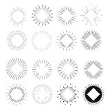 Big set of Retro Sun burst shapes. Vintage logo, labels, badges. Vector design elements isolated. Minimal black firework burst Stock Photo