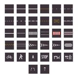 Big set of road signs and types isolated on white background. Vector illustration stock illustration