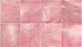 Big set rose gold metal texture. Luxury elegant soft foil background. royalty free stock photography
