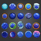 Big set of round blue button Stock Images