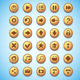 Big set of round buttons cartoon computer game Wild West.  Stock Photography