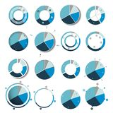 Big set of round, circle chart, graph. Simply color editable. Infographics elements Stock Image