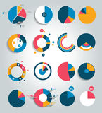 Big set of round, circle chart, graph. Simply color editable. Royalty Free Stock Photo