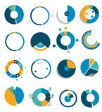 Big set of round, circle chart, graph. Simply color editable. Infographics elements Stock Images