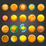 Big set of round orange button Stock Photos