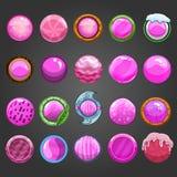 Big set of round pink  button Stock Photo