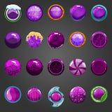 Big set of round purple button Stock Photo