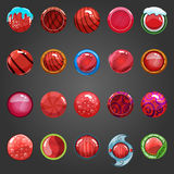 Big set of round red button. Set of game interface button color. Button for web or game design Stock Photography