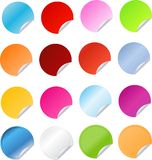 Big set of round stickers. Big set of multicolored stickers with bent corner Stock Photography