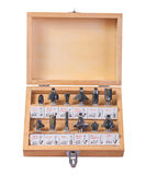Big set of roundover router bits for woodworking in wooden box i Royalty Free Stock Image