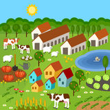 Big set of rural farmer elements. Fields, animals, plants. Royalty Free Stock Photo