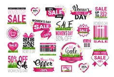 Big Set Of Sale Stickers For International Womens Day Special Offer Signs Template Badges Promotion Isolated. Vector Illustration Stock Image