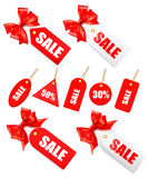 Big set of sales tags with red gift bow and ribbon Royalty Free Stock Images
