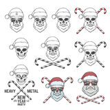 Big set of Santa Claus skulls with candy cones and Royalty Free Stock Photos