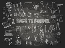 Big set of school items, such as a backpack, book, laptop, globe etc, chalked on a blackboard. Vector. Big set of school items, such as a backpack, book, laptop stock illustration