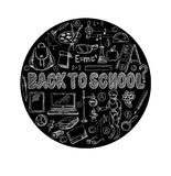 Big set of school items, such as a backpack, book, laptop, globe etc, chalked on a blackboard. Vector. Big set of school items, such as a backpack, book, laptop vector illustration